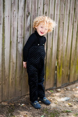 Black Velvet Zigzag Long Quilted Overalls