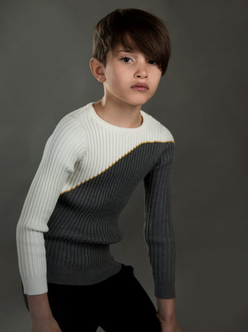Charcoal Mustard Off White Sweater