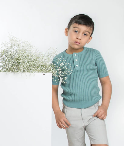 Ribbed Short Sweater Seafoam
