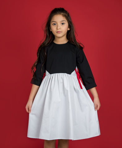 Gathered Waist Dress With Side Bows