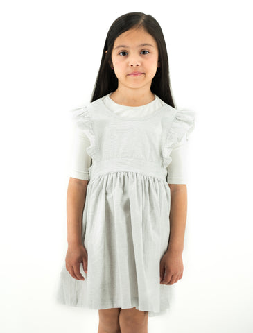 Thin Lined Grey & White Ruffle Dress