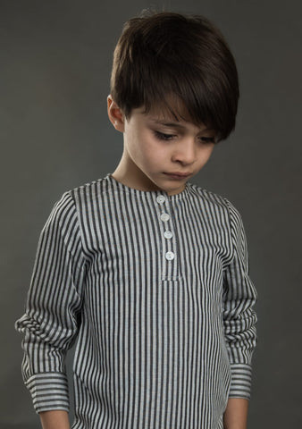 Dark And Light Grey Thin Striped Shirt