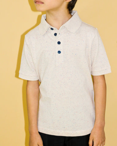 Beige Colored Speckled Polo - Short Sleeve