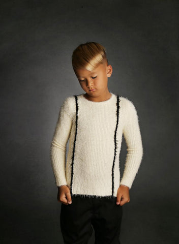 Ivory All Long Fur Ribbed Sweater