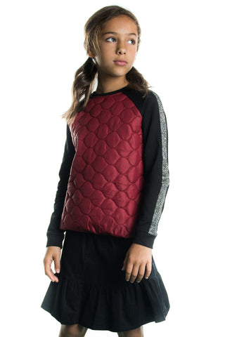 Quilted Shimmer Trim Top Solid Back