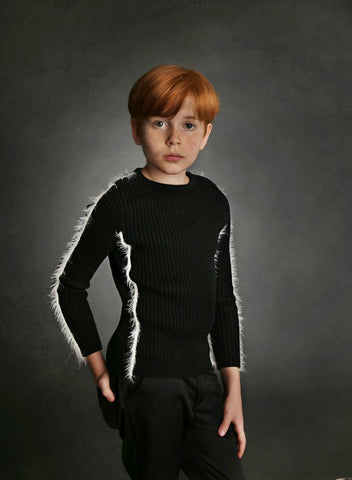 Ribbed Long Fur Strip Ribbed Sweater