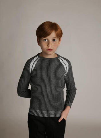 Shimmer Edges Ribbed Sweater Charcoal