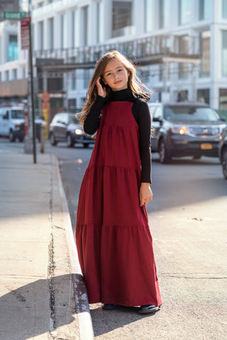 Thick Jersey Tiered Burgundy Robe