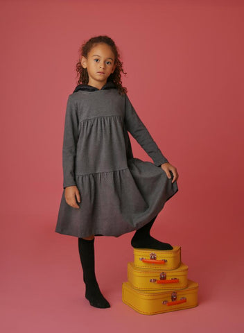 Tiered Quilted Hooded Dress