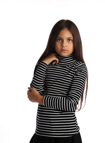 Turtle Neck Stripe Black