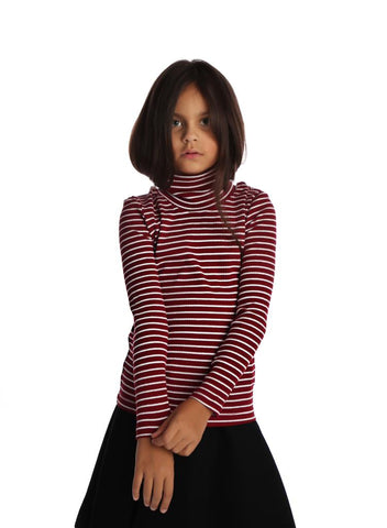 Turtle Neck Stripe Burgundy