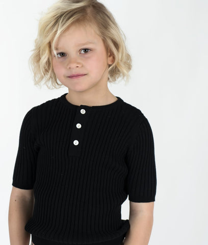 Ribbed Short Sweater Black