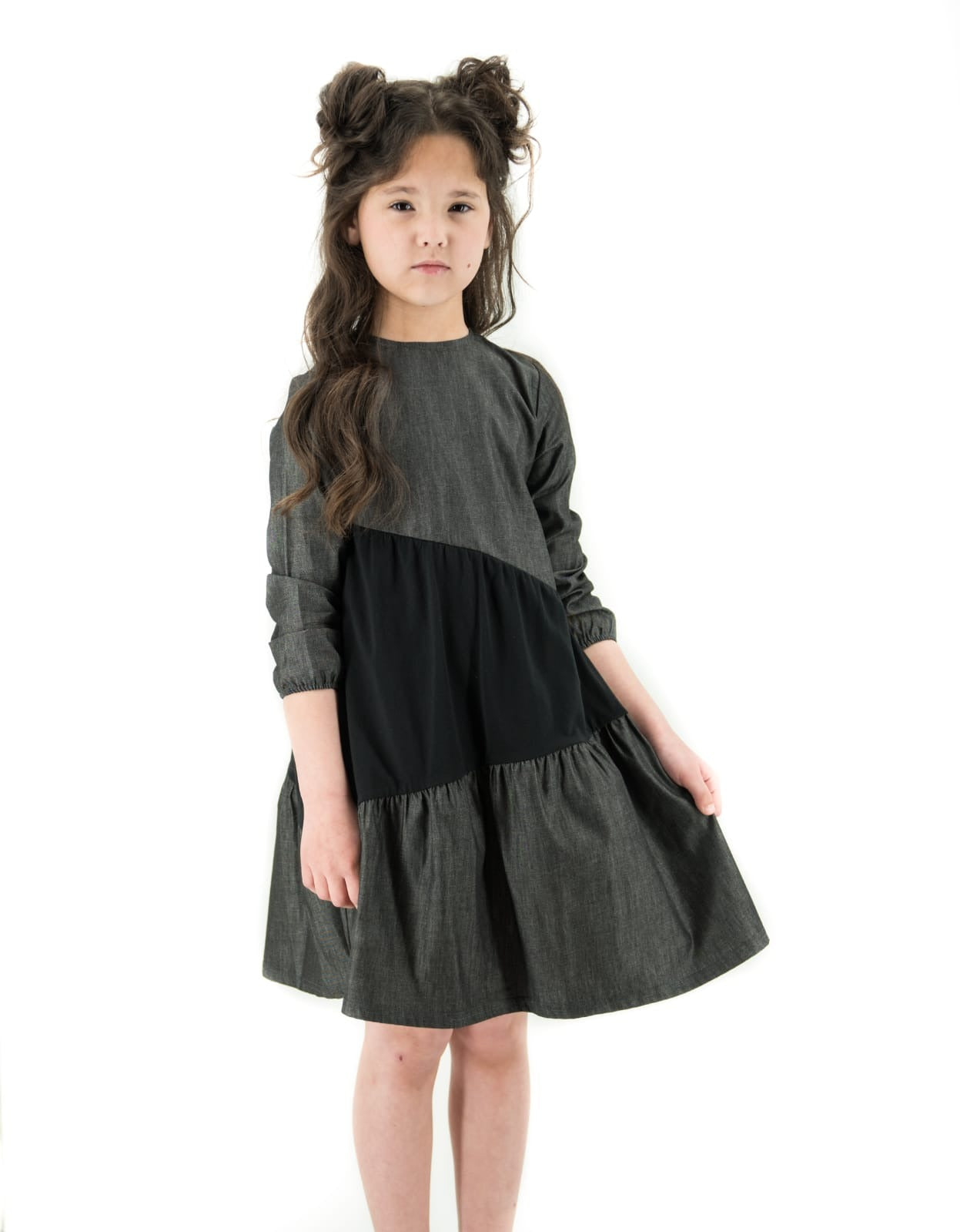 Black Chambray Ruffle Dress