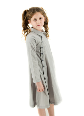 Side Button Down Dress Light Grey