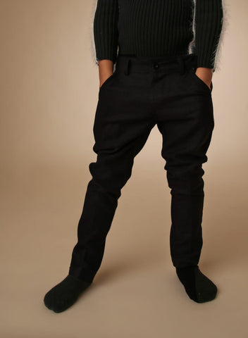Wool Look Pants - Black