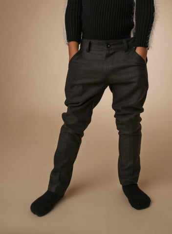 Wool Look Pants - Charcoal