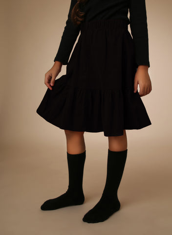 Corduroy Bottom Ruffle Skirt - Black