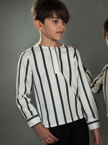 Black & Off white Striped Shirt