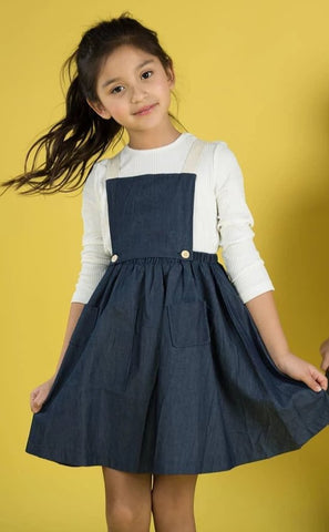 Overall Flare Dress Navy