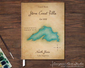Watercolor Map Guest Book