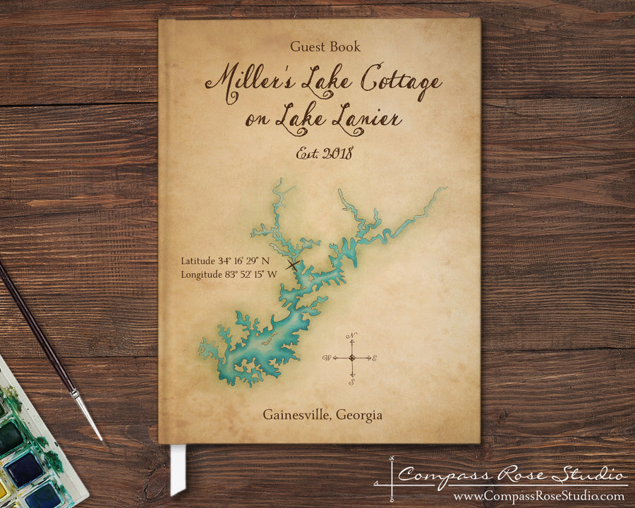 Complex Lake Watercolor Map Guest Book