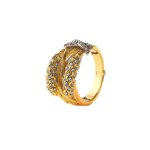 Stylish wheat design cocktail ring