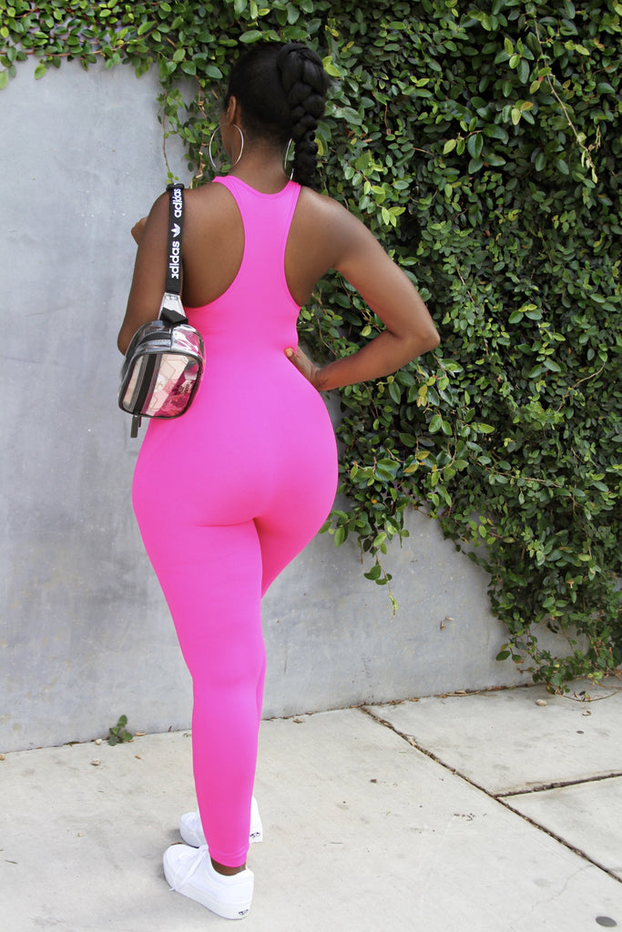 THE ON THE GO JUMPSUIT- NEON PINK