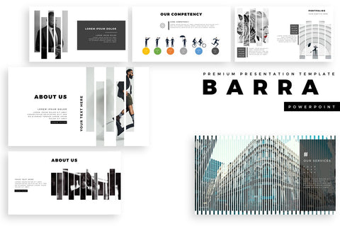 BARRA Stripe Shape PowerPoint Template
