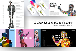 Communication People Portfolios PowerPoint Template