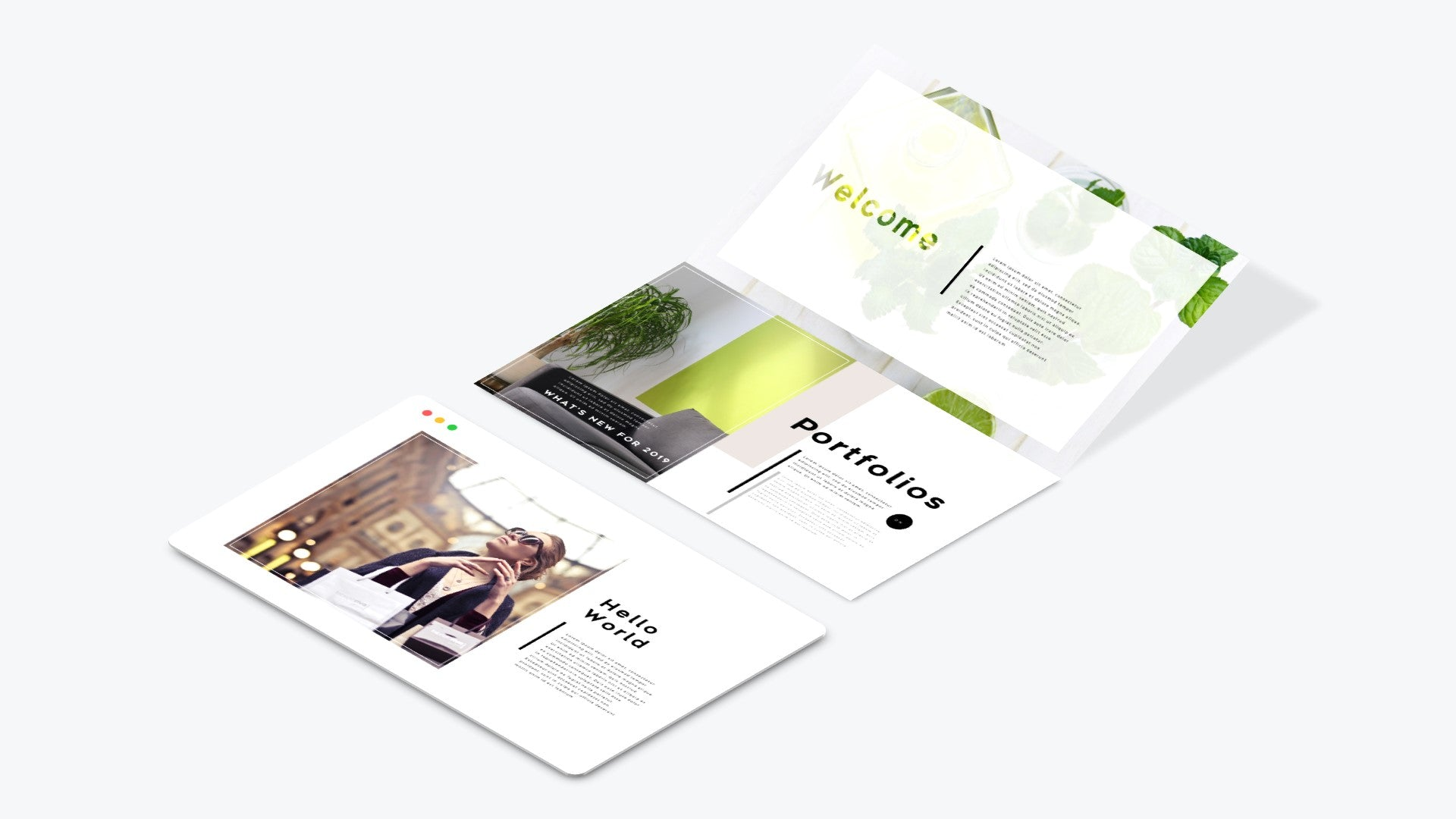 3 Web Screen Parallel Rotation PowerPoint Template