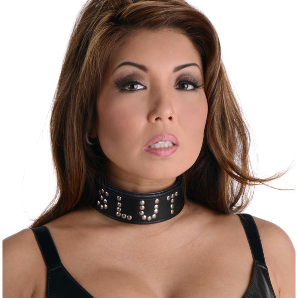 Studded Leather Slut Collar