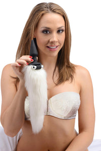 White Fox Tail Vibrating Anal Plug