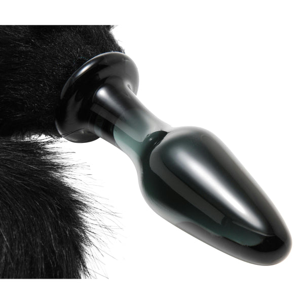 Midnight Fox Tail Glass Anal Plug