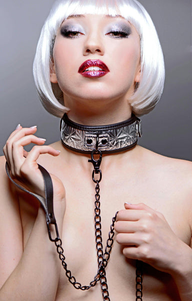 Platinum Bound Chained Collar with Leash
