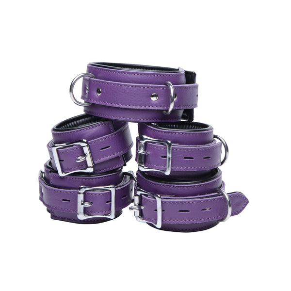 Purple 5 Piece Locking Leather Bondage Set