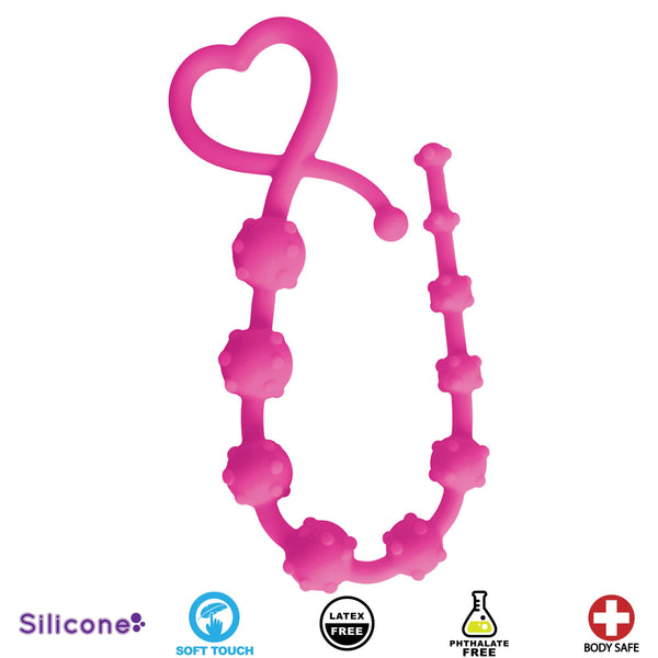 Hearts n Studs Silicone Anal Beads