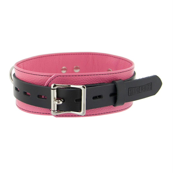 Strict Leather Deluxe Locking Collar - Pink and Black