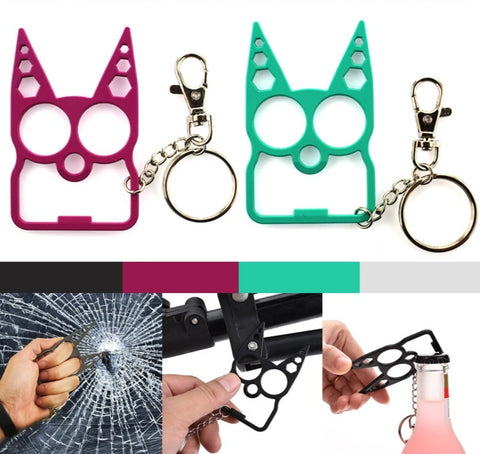 The Kitty Keychain Stay Safe Cat Key Chain Wild Cat Keychain