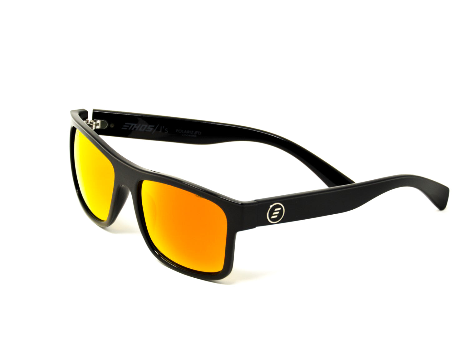 Ethos J's sunglasses with gloss black TR90 frame and blaze polarized mirrored lens
