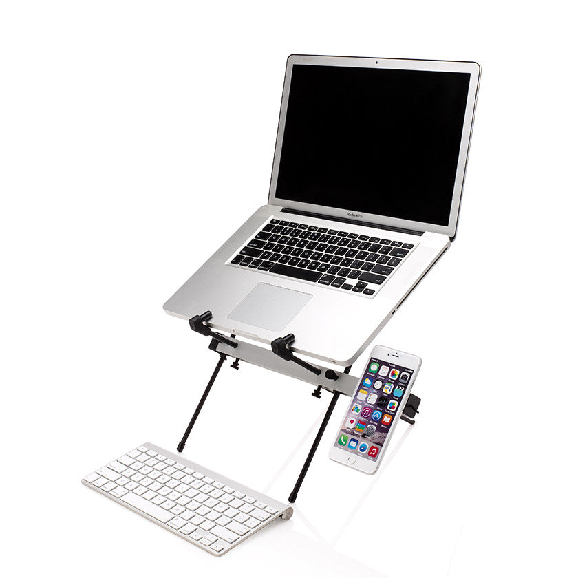 xstand shown in sitting position with keyboard