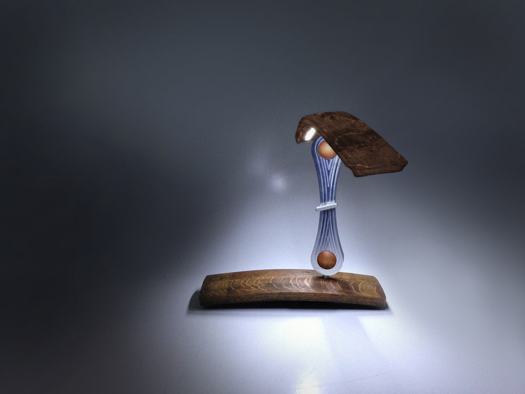 lumia led lighted wine barrel stave table lamp with sculpted milled aluminum arms side view