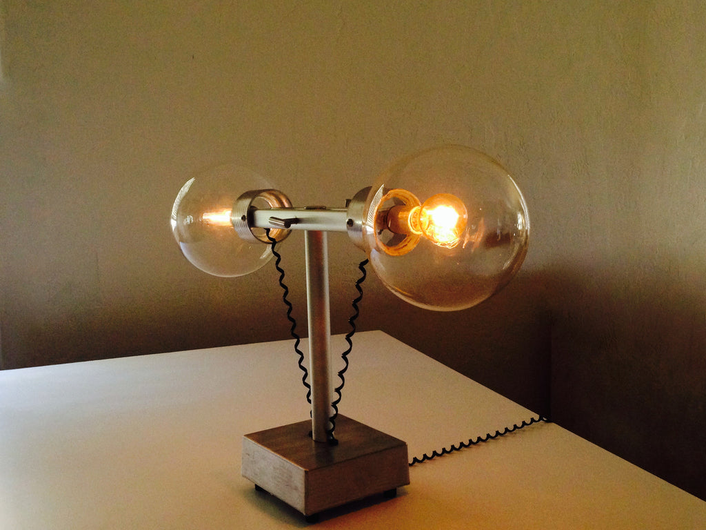 franken edison light with two globes and aluminum base