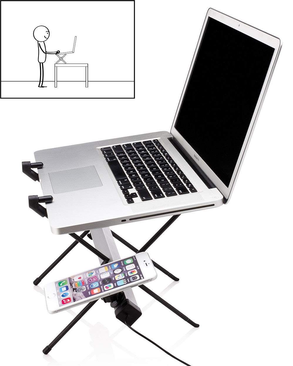 xstand universal laptop stand in stand up position with smartphone magnetically attached and made with anodized aluminum