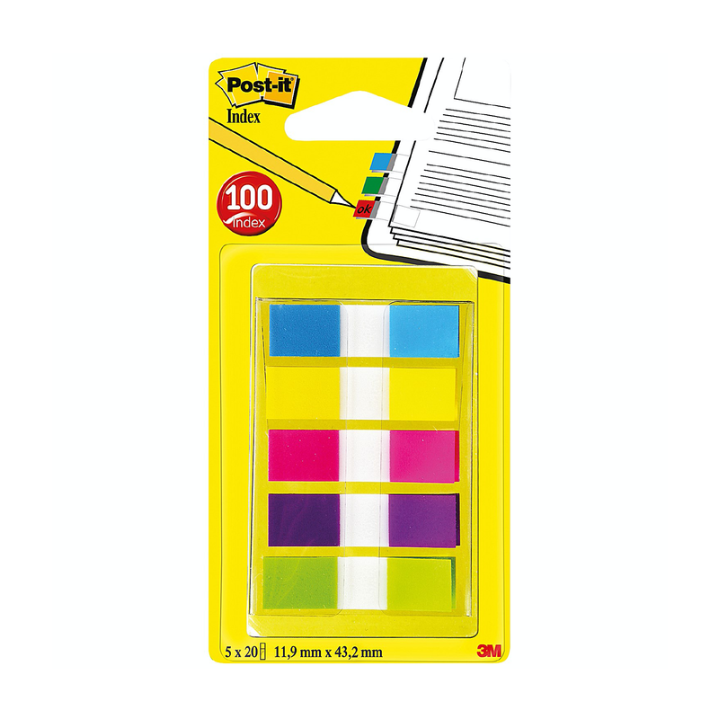 Post-it Small Index 12.5mm Assorted Pack of 100