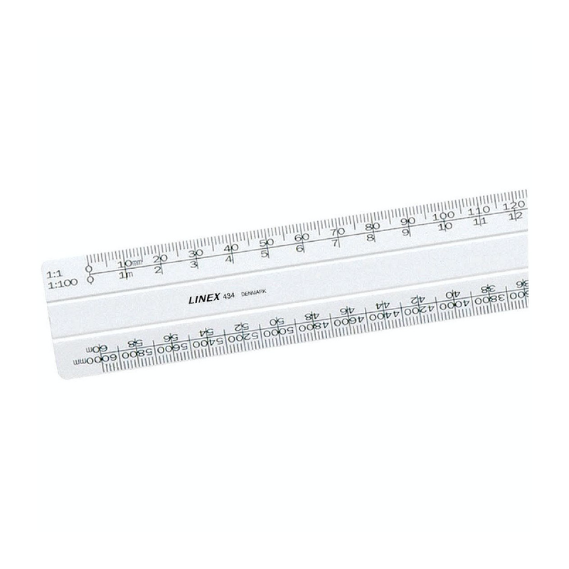 Linex Flat Scale Ruler 1:1 1:20-500 30cm White