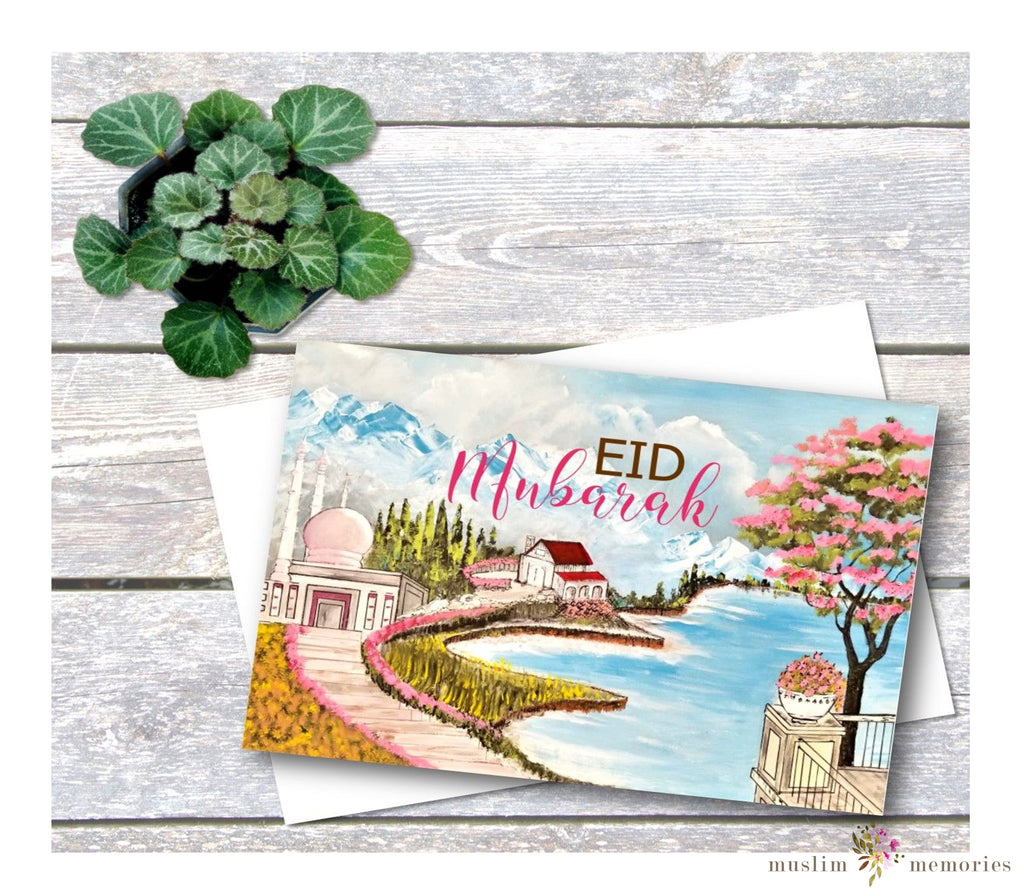 Pink Mosque & River Eid Mubarak Card