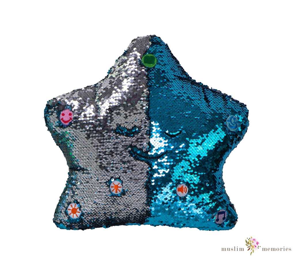 Flippable Sequins My Dua' Pillow – Blue & Silver