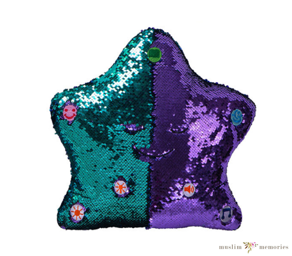 Flippable Sequins My Dua' Pillow – Purple & Turquoise