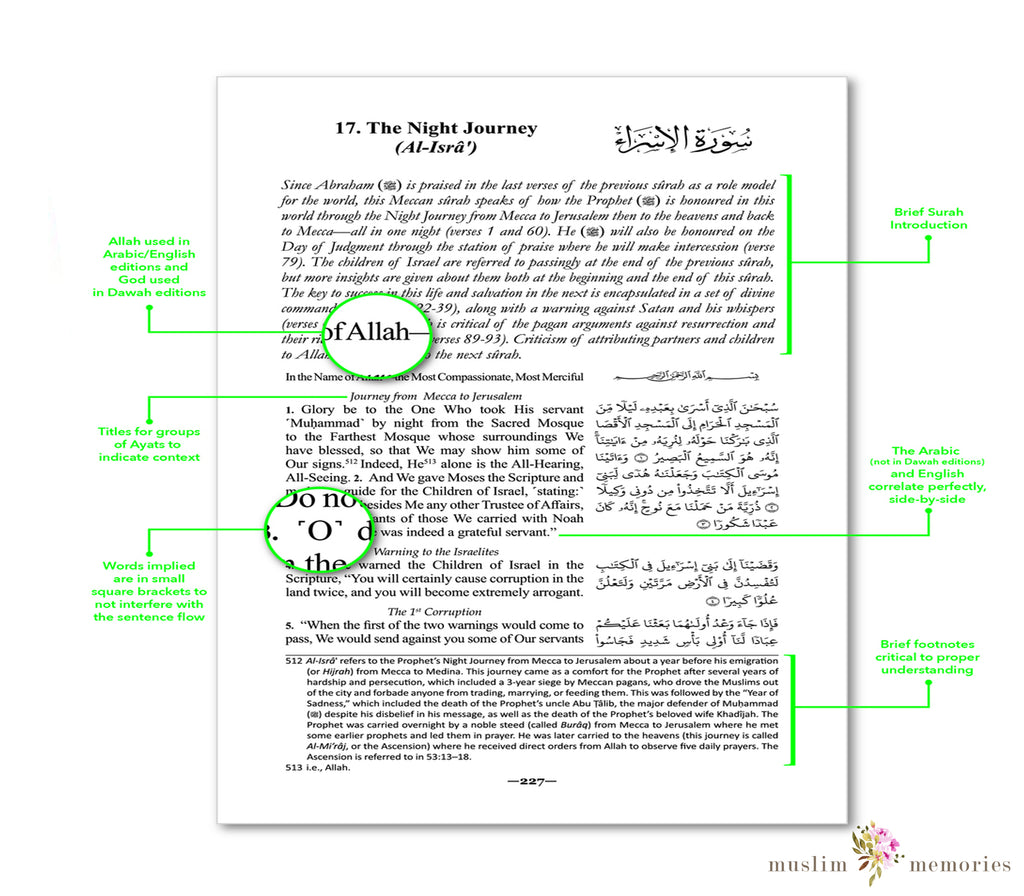 THE CLEAR QURAN - WITH ARABIC TEXT | * FLEXI COVER (LIGHT WEIGHT FLEXIBLE COVER )