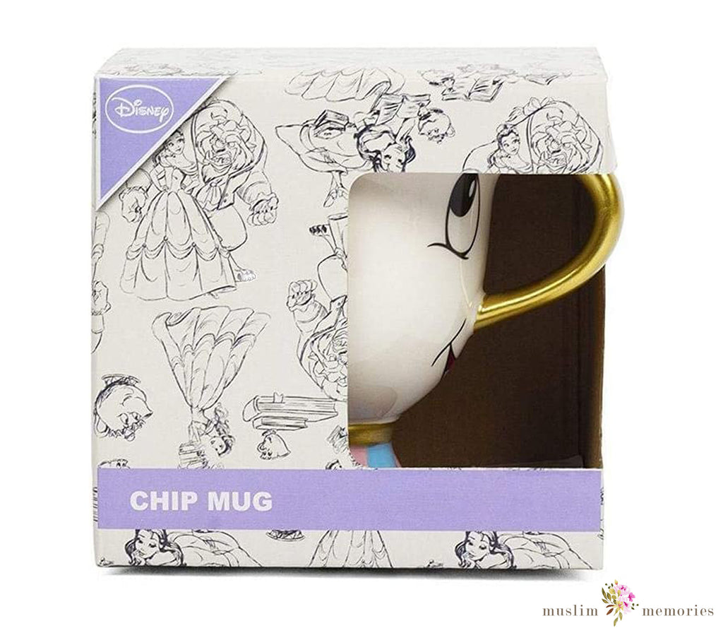 Disney Beauty and the Beast Chip Mug with Gold Foil Printing, Multicolor, 8 Ounces